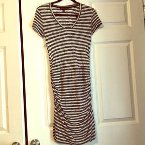 Black and white stripped cotton dress